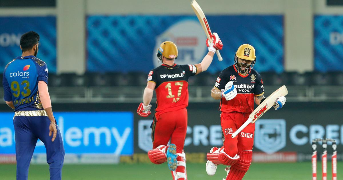 RCB won the super over game against Mumbai Indians