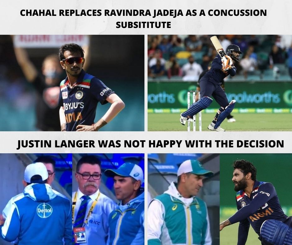 Chahal Replaces Jadeja as a Concussion Substitute