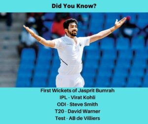 First Wickets of Jasprit Bumrah
